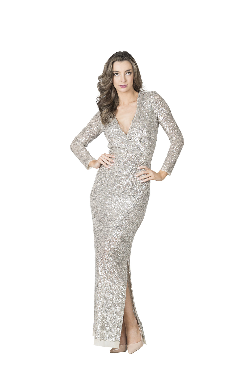Lisa Barron Hollywood Wrap Sequin Gown - Silver