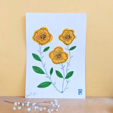Load image into Gallery viewer, Yellow flowers - original gouache painting