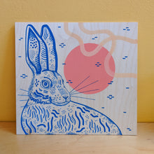 Load image into Gallery viewer, Hare original illustration on wood panel