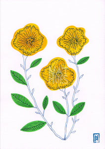 Yellow flowers - original gouache painting