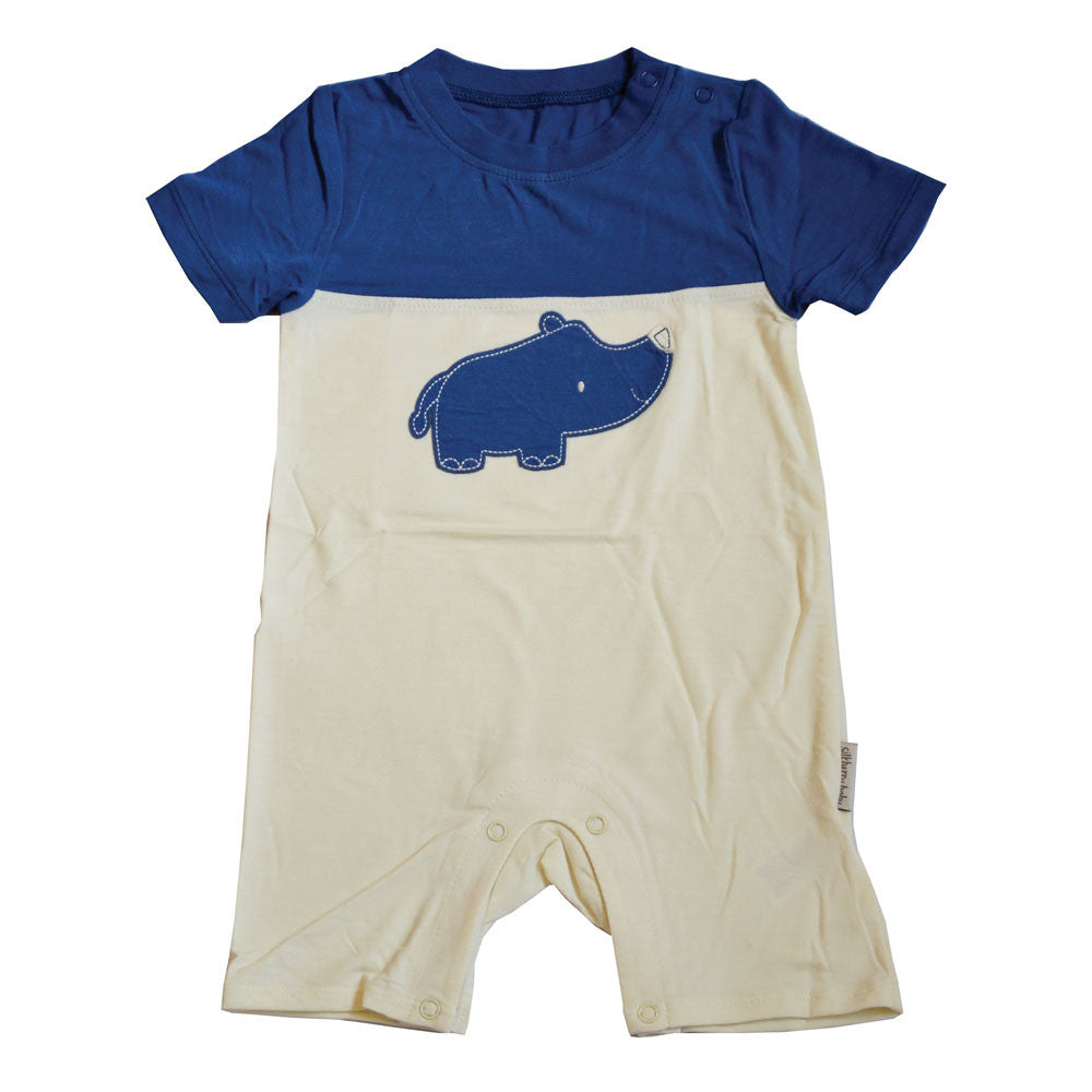 cb1c02cf0 Bamboo Short Sleeve Romper (Twilight Blue - Rhino) by Silkberry Baby ...