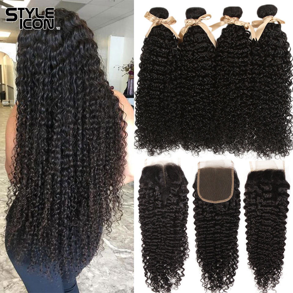 Malaysian Kinky Curly Bundles With Closure Curly Human Hair Bundles With Closure Styleicon 3 Bundles Curly Bundles With Closure