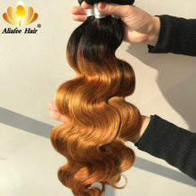 "Load image into Gallery viewer, Aliafee Hair Brazilian Body Wave Bundles Hair 8""-30"" Inches Ombre Human Hair Weave 1/3/4 Piece Remy Hair Extensions"