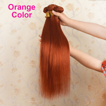 Load image into Gallery viewer, Ali Coco Brazilian Straight Hair Weave Bundles Orange Ginger 100% Human Hair Bundles 1/3 PCS 8-30 Inch Non Remy Hair Extensions