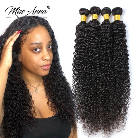 Missanna Brazilian Kinky Curly Hair 1/3/4 Bundles Deep Curly Hair Weaves 32 34 36 38 40Inch Natural Remy Human Hair Extensions