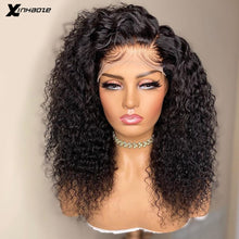 Load image into Gallery viewer, Peruvian 5*5 Silk Base Lace Front Human Hair Wigs with Baby Hair 250 Density Kinky Curly Side Part Lace Front Wigs For Women