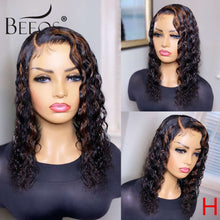Load image into Gallery viewer, Beeos 180% 4*4 Deep Side Part Lace Front Human Hair Wig Highlight Color Curly Bob Brazilian Remy Hair PrePlucked Bleached Knots
