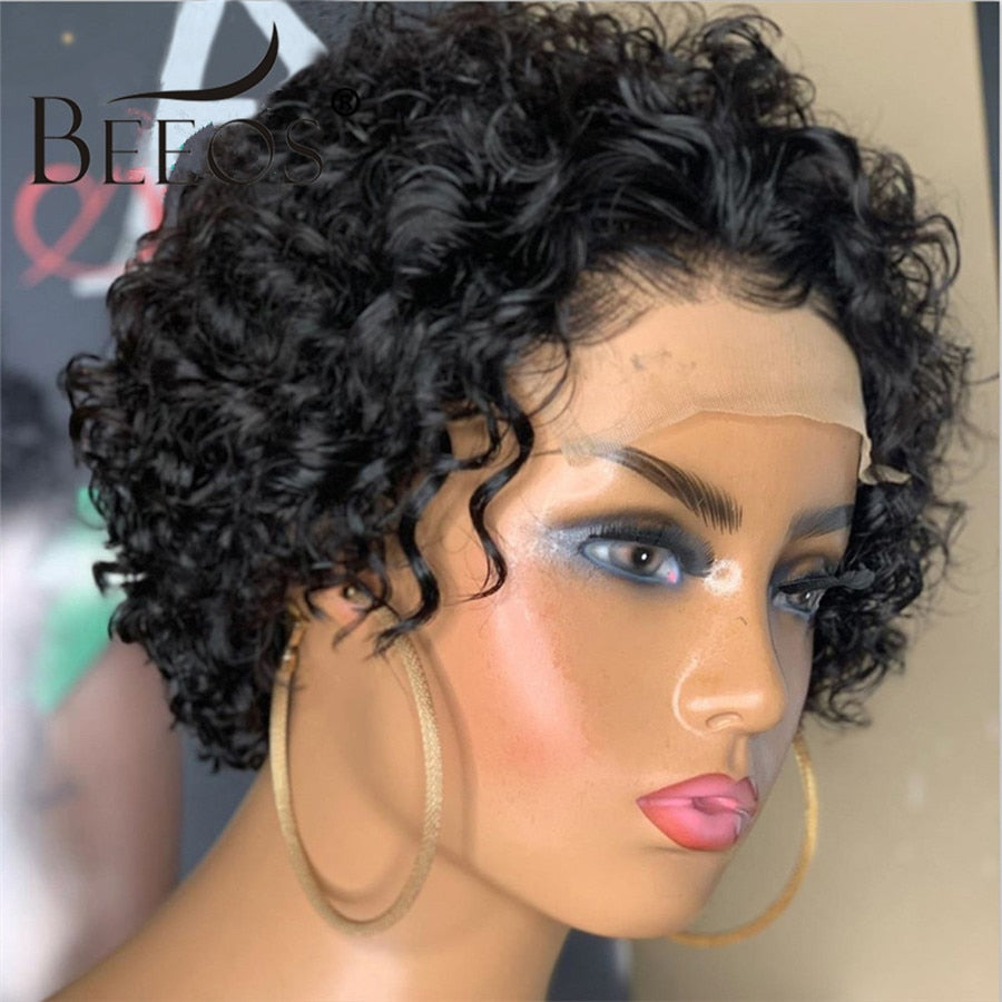 Beeos 250% Pixie Cut Short Curly Wig 4*4 Closure Lace Human Hair Wigs Brazilian Remy 8
