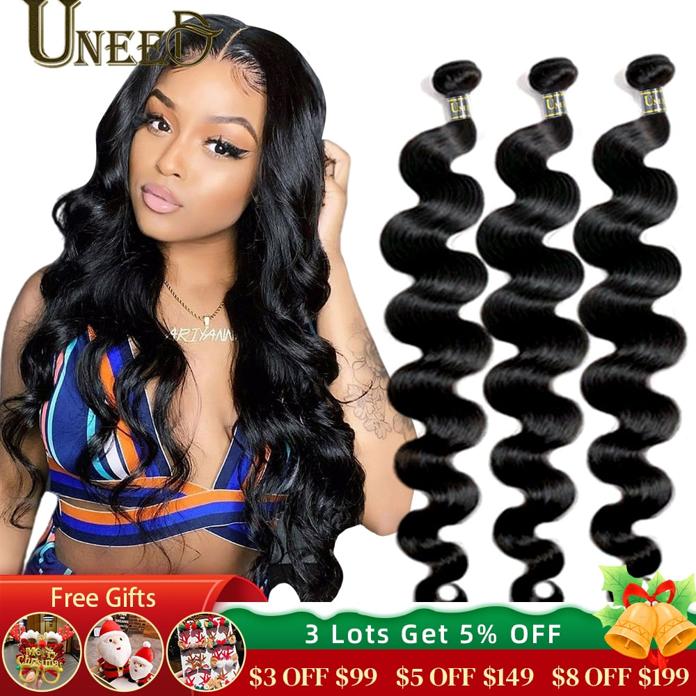 Uneed Brazilian Body Wave Bundles Hair Extensions 100% Remy Human Hair Weave Bundles 30 32 40 Inch Natural Color Buy 1/3/ 4 Pcs