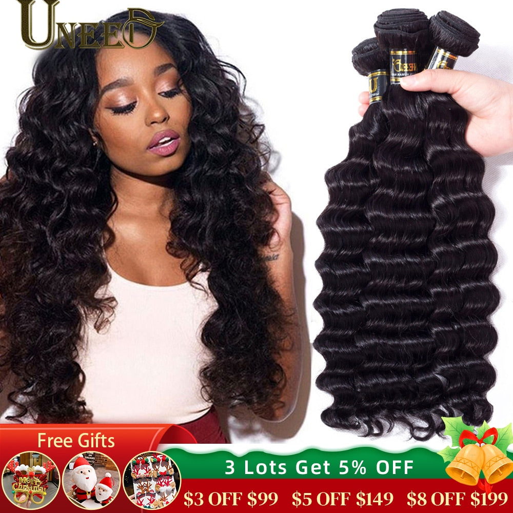30 32 40 Inch Peruvian Hair Bundles Loose Deep Wave Human Hair Extensions Long Length Remy Hair Natural Color 1 Piece Hair Weave
