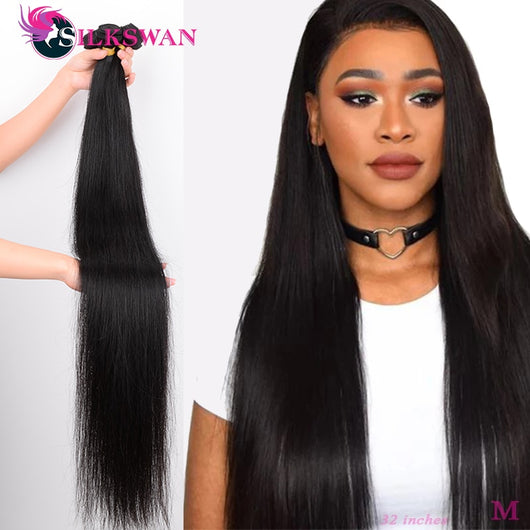 Silkswan Straight Human Hair Bundles 34 36 38 40 Inch Long Hair Weft 1/3/4 Pieces Brazilian Remy Hair Extension Hair Weave