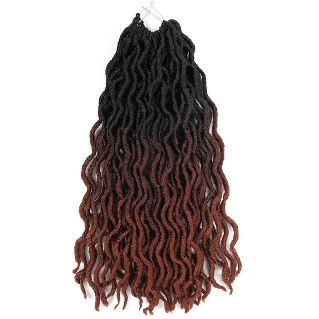 ombre curly crochet hair synthetic braiding hair extensions goddess faux locs 12 inches and 20inches soft dreads dreadlocks hair