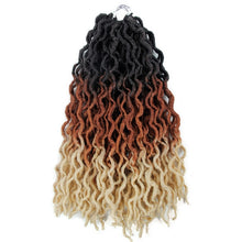 Load image into Gallery viewer, ombre curly crochet hair synthetic braiding hair extensions goddess faux locs 12 inches and 20inches soft dreads dreadlocks hair