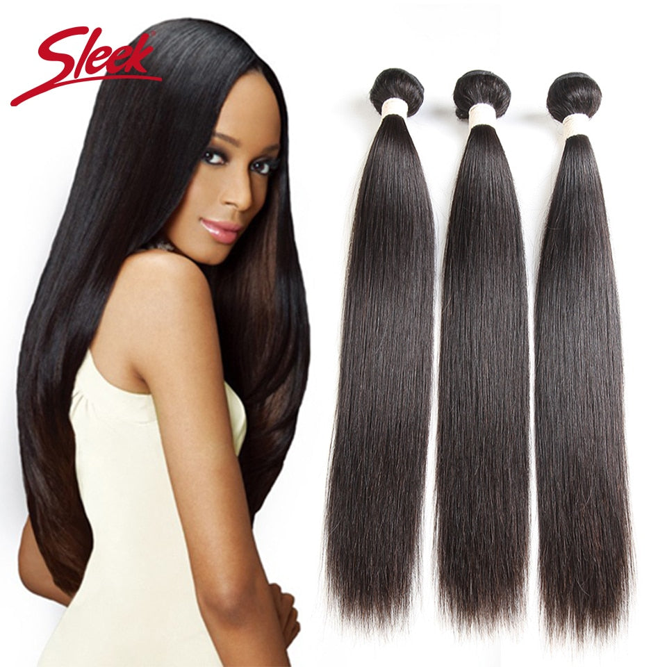 Sleek Brazilian Straight Human Hair Bundles 30 Inches 100% Real Natural Color Remy Human Hair Weave Can buy 3 or 4 Bundles