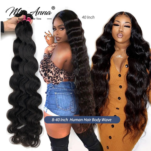 Missanna Body Weave Soft Bundles 30 32 34 36 38 40 Inch Brazilian 100% Human Hair Weaves Bundle Remy Quality 1/3/4 Pcs Extension