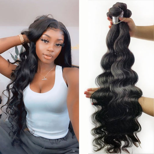 Fashow Hair Body Wave 30 32 34 36 40 inch Peruvian Hair Bundles 100% Human Hair Bundles Remy Hair Weaves Natural Color Extension