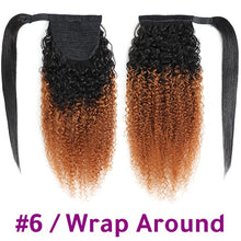 Load image into Gallery viewer, Racily Hair Afro Kinky Curly Ponytail Human Hair Remy Brazilian Wrap Around Drawstring Ombre Ponytail Clip In Hair Extensions