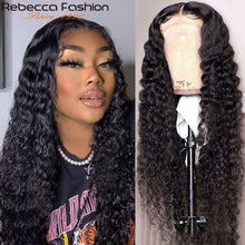 Load image into Gallery viewer, Rebecca Deep Wave 360 Lace Frontal Wig Deep Curly Lace Front Human Hair Wigs Pre Plucked Brazilian Human Hair Lace Wigs 30 Inch