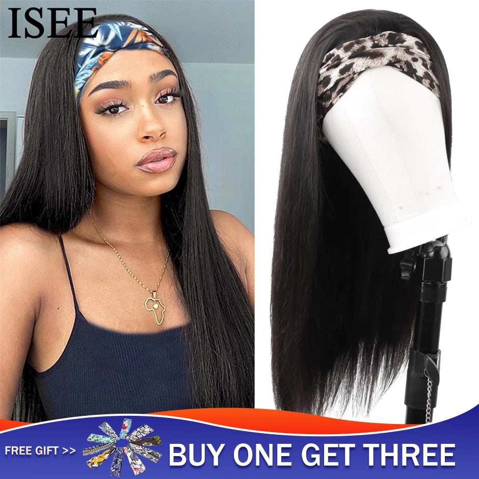 Straight Headband Wig Human Hair Wigs 180% Density Malaysian Straight Hair Wig ISEEHAIR Full Machine Made Wig For Black Women