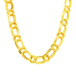 18ct Vintage Flat Fancy Link Collier Necklace