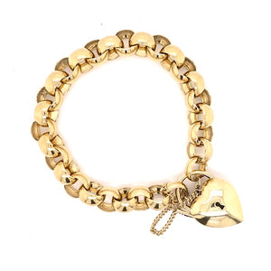 Vintage Belcher Bracelet with Heart Lock