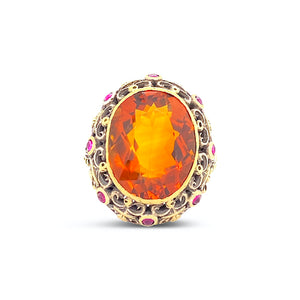 Antique Citrine and Ruby Ring - SOLD