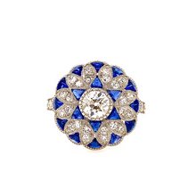 Load image into Gallery viewer, Art Deco style Platinum sapphire and diamond ring - SOLD