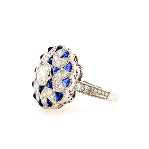 Art Deco style Platinum sapphire and diamond ring - SOLD