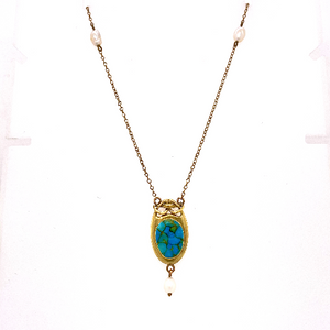 Art Nouveau Turquoise and Pearl Necklace