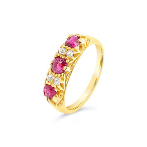 Ruby and Diamond Yellow Gold Ring