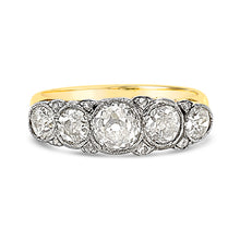 Load image into Gallery viewer, Five stone diamond carved half hoop bridge ring front