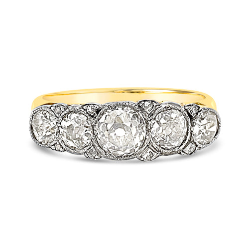 Five stone diamond carved half hoop bridge ring front