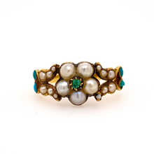 Load image into Gallery viewer, Georgian Pearl and Emerald Flower Ring