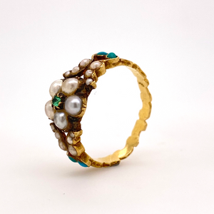 Georgian Pearl and Emerald Flower Ring