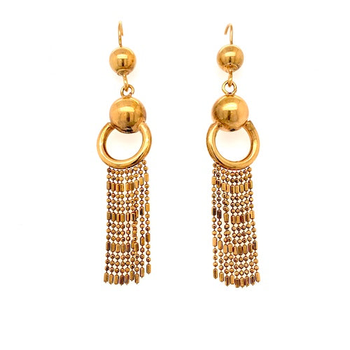 Antique Victorian 14ct Gold Bobble Fringe earrings.
