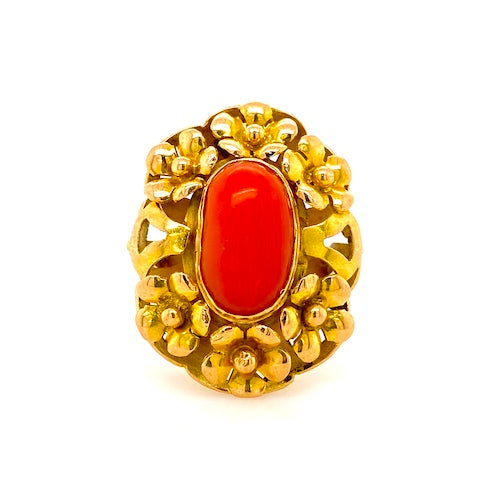 coral and 18ct yellow gold ring melbourne
