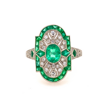 Load image into Gallery viewer, Platinum Art Deco Emerald and Diamond Ring - SOLD