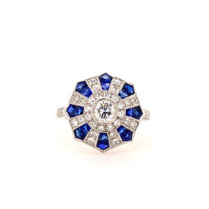 Hexagonal Sapphire and Diamond 18ct white gold ring.