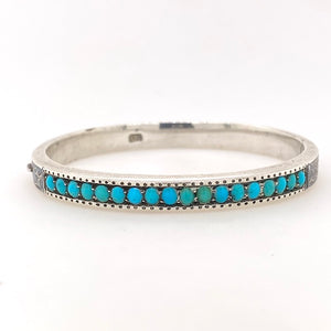 Antique Bohemian Sterling silver turquoise bangle.