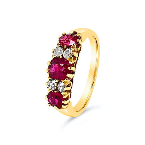 Victorian Ruby Diamond Bridge Ring