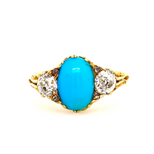 Load image into Gallery viewer, Victorian Turquoise and Diamond Carved Shoulder Ring