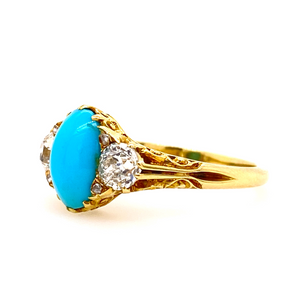 Victorian Turquoise and Diamond Carved Shoulder Ring