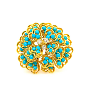 Vintage Turquoise and Diamond Large Brooch