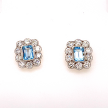 Load image into Gallery viewer, Aquamarine and Diamond Halo Earrings