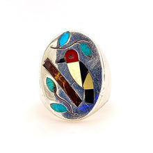 Load image into Gallery viewer, Vintage Sterling Silver Gemstone Inlay Ring