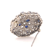 Load image into Gallery viewer, Antique Sapphire and Diamond Brooch