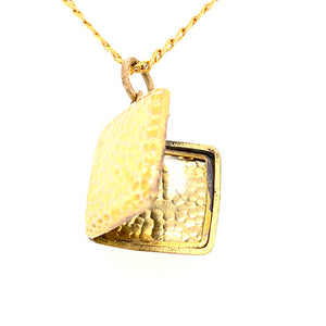 Square Locket pendant with hammered finish