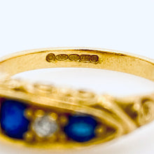 Load image into Gallery viewer, Antique Sapphire Diamond Bridge Ring