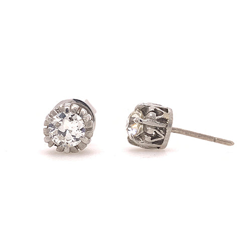 Art Deco Platinum and Diamond Stud Earrings