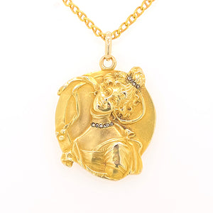 14ct Yellow Gold Art Nouveau Pendant Depicting a Beautiful Woman - SOLD
